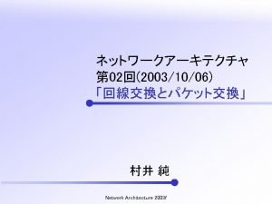 Network Architecture 2003 f Network Architecture 2003 f