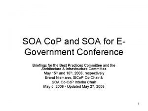 SOA Co P and SOA for EGovernment Conference