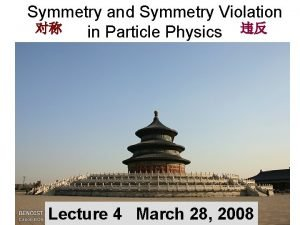 Symmetry and Symmetry Violation in Particle Physics Lecture