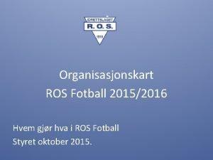4 Organisasjonskart ROS Fotball 20152016 Hvem gjr hva