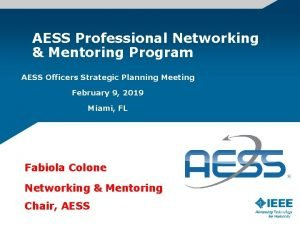 AESS Professional Networking Mentoring Program AESS Officers Strategic