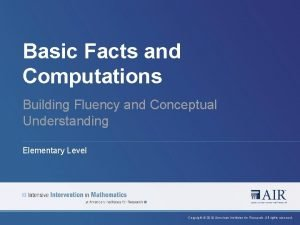 Basic Facts and Computations Building Fluency and Conceptual