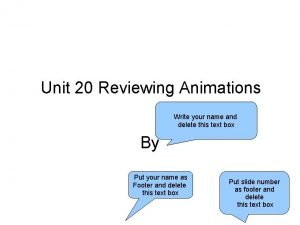 Unit 20 Reviewing Animations Write your name and