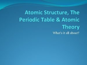 Atomic Structure The Periodic Table Atomic Theory Whats