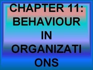 CHAPTER 11 BEHAVIOUR IN ORGANIZATI ONS INDIVIDUAL BEHAVIOUR