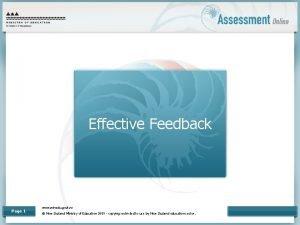 Effective Feedback Page 1 www minedu govt nz