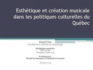 Esthtique et cration musicale dans les politiques culturelles