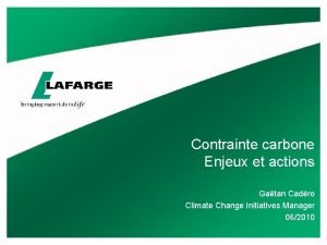 Contrainte carbone Enjeux et actions Gatan Cadro Climate