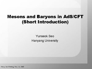 Mesons and Baryons in Ad SCFT Short Introduction