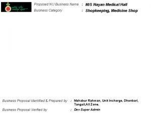 Proposed NU Business Name MS Nayan Medical Hall