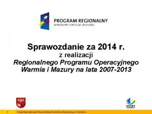 Sprawozdanie za 2014 r z realizacji Regionalnego Programu