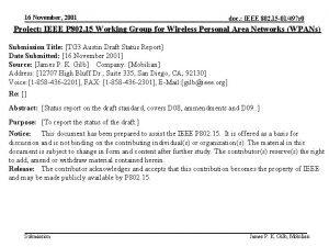 16 November 2001 doc IEEE 802 15 01497