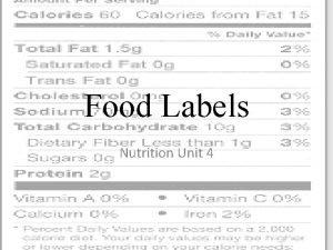 Food Labels Nutrition Unit 4 Food Labels RDAs