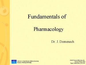 Fundamentals of Pharmacology Dr J Domenech Pearsons Comprehensive