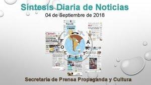 Sntesis Diaria de Noticias 04 de Septiembre de