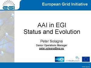 European Grid Initiative AAI in EGI Status and