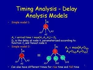Timing Analysis Delay Analysis Models Simple model 1