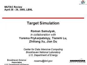 MUTAC Review April 28 29 2005 LBNL Target