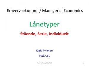 Erhvervskonomi Managerial Economics Lnetyper Stende Serie Individuelt Kjeld