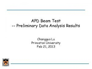 APD Beam Test Preliminary Data Analysis Results Changguo