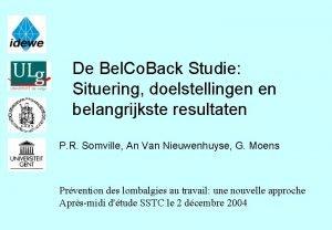 De Bel Co Back Studie Situering doelstellingen en