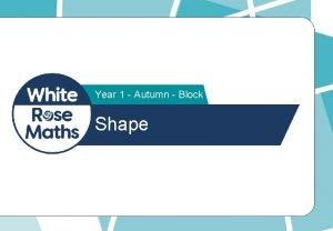 Year 1 Autumn Block 3 Shape Put a