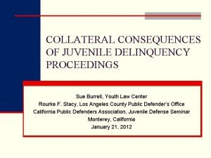 COLLATERAL CONSEQUENCES OF JUVENILE DELINQUENCY PROCEEDINGS Sue Burrell