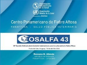 Rossana M Allende Laboratorio de Referencia PANAFTOSA OPSOMS