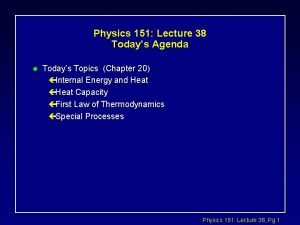 Physics 151 Lecture 38 Todays Agenda l Todays