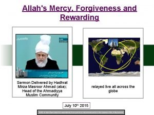 Allahs Mercy Forgiveness and Rewarding Sermon Delivered by