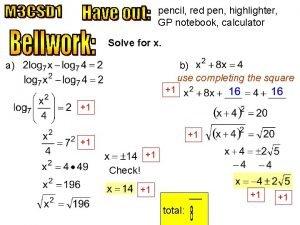 pencil red pen highlighter GP notebook calculator Solve