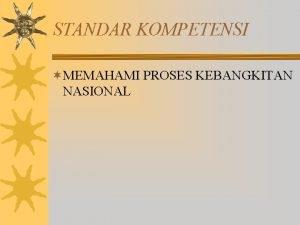 STANDAR KOMPETENSI MEMAHAMI PROSES KEBANGKITAN NASIONAL Kesadaran Nasional