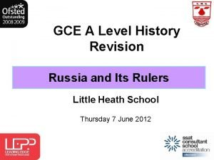 GCE A Level History Revision Russia and Its