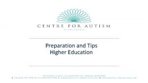 Preparation and Tips Higher Education Preparing for Higher