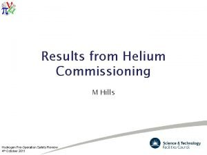 Results from Helium Commissioning M Hills Hydrogen PreOperation