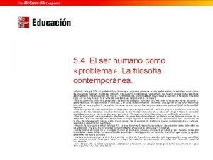 5 4 El ser humano como problema La