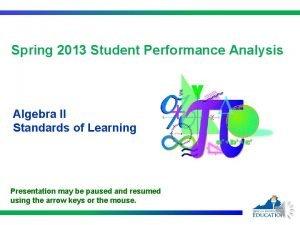 Spring 2013 Student Performance Analysis Algebra II Standards