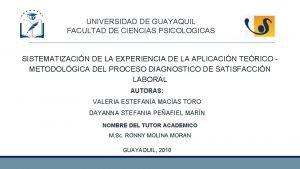 UNIVERSIDAD DE GUAYAQUIL FACULTAD DE CIENCIAS PSICOLOGICAS SISTEMATIZACIN