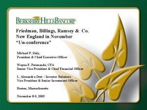 Friedman Billings Ramsey Co New England in November