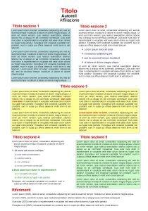 Titolo Autorei Affiliazione Titolo sezione 1 Titolo sezione