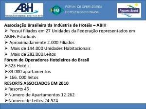 FRUM DE OPERADORES HOTELEIROS DO BRASIL Associao Brasileira