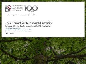 Social Impact Stellenbosch University Introduction to Social Impact