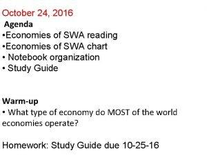 October 24 2016 Agenda Economies of SWA reading