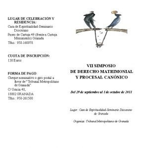 LUGAR DE CELEBRACIN Y RESIDENCIA Casa de EspiritualidadSeminario