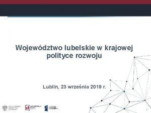 Wojewdztwo lubelskie w krajowej polityce rozwoju Lublin 23
