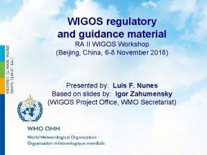 WIGOS regulatory and guidance material RA II WIGOS