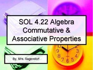 SOL 4 22 Algebra Commutative Associative Properties By