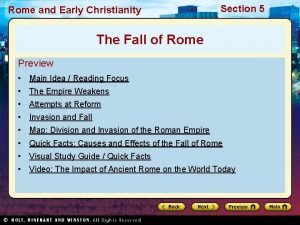 Rome and Early Christianity Section 5 The Fall