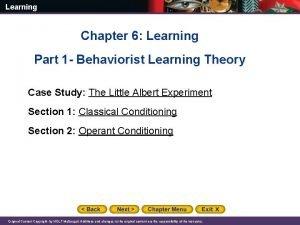Learning Chapter 6 Learning Part 1 Behaviorist Learning