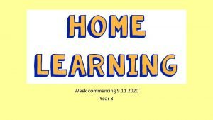Home learning Week commencing 9 11 2020 Year